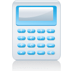 Fusion Bookkeeping blue and grey calculator icon as a design element.
